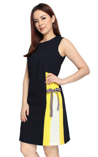 Contrast Side Panel Dress - Midnight Blue