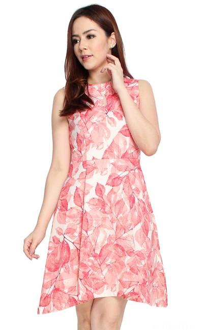 Leaf Print Flare Dress - Rose Red