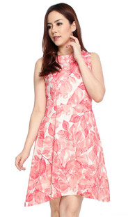Leaf Print Flare Dress - Rose Red