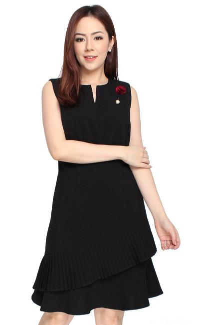 Asymmetrical Pleated Hem Dress