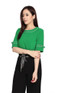 Contrast Piping Blouse - Green