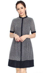 Eyelet Shirt Dress - Navy