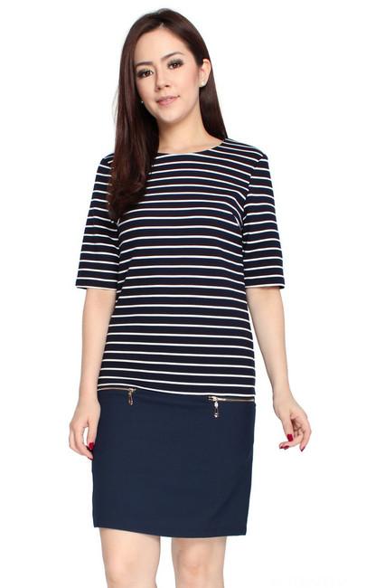 Striped Zipper Dress
