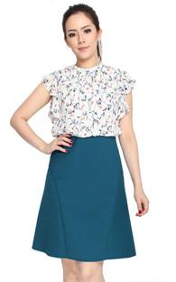 Printed Ruffle Top Dress - White