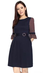 Striped Chiffon Sleeves Dress