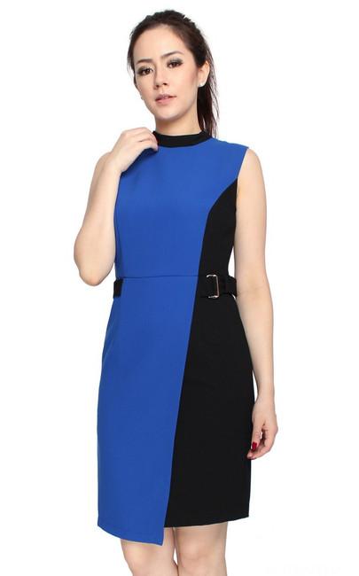 Colourblock Overlap Dress - Cobalt Blue