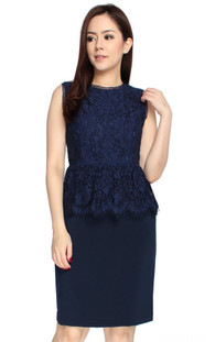 Lace Top Peplum Dress - Navy