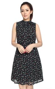 Chiffon Neck Tie Dress - Petite Fleur