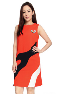 Colourblock Shift Dress - Tangerine