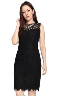 Lace Sheath Dress - Black