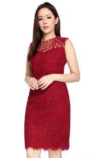 Lace Sheath Dress - Wine