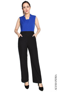 Notch Collar Jumpsuit - Cobalt