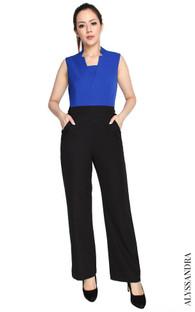 Notch Collar Jumpsuit - Cobalt
