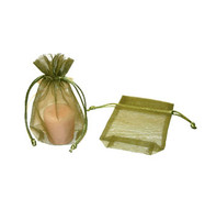 3.5 x 5 Rectangle Bottom Organza Bag w/ Cord - 10 pcs