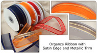 3/8 inch Organza Ribbon with Satin Edge & Metallic Trim - 25 yds