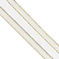 7/8 inch Organza Ribbon with Satin Center & Metallic Trim - 25 yds