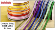 3/8 inch Double Sided Picot Satin Ribbon (Feather Edge) - 50 yds