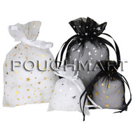 3 x 4 Metallic Star Print Organza Bag