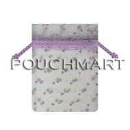 White w/ Lavender Dots 5 x 7 Tulle Bag