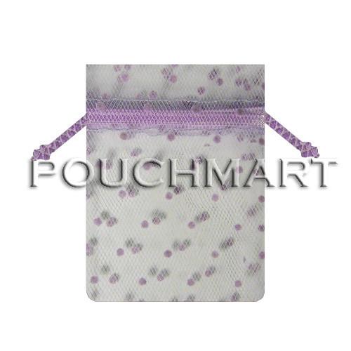 White w/ Lavender Dots 5 x 7 Tulle Bag