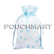 Blue 4 x 6 Baby Print Organza Bag