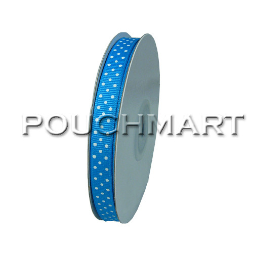3/8 inch blue dot grosgrain ribbon