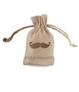 Small Mustache Print Linen Bag