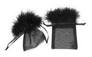 3 x 4 Organza Bag with Feather Trim - 10 pcs
