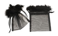4 x 5.5 Organza Bag with Feather Trim - 10 pcs