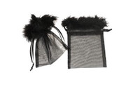 5 x 6.5 Organza Bag with Feather Trim - 10 pcs