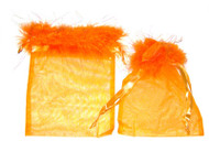5 x 7 Organza Bag with Shiny Feather Trim - 6 pcs