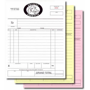 """CF3P811 - 8.5"""" x 11"""" - 3 Part Carbonless Forms Normal Color Sequence: white, Canary, Pink"""