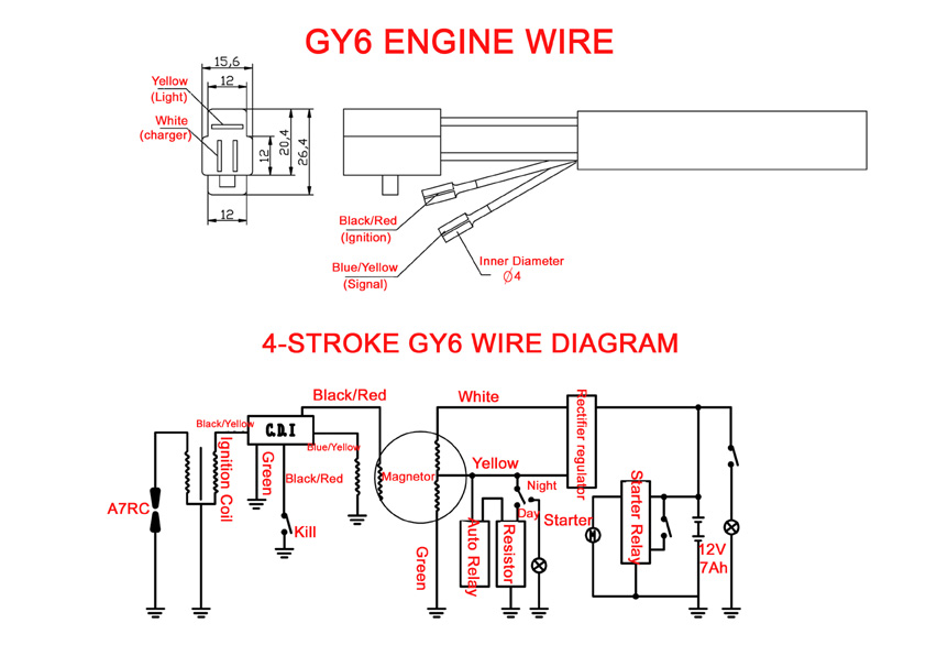 gy6 engine wiring diagram rh t motorsports com Rectifier for GY6 150Cc Wiring-Diagram 150cc gy6 wiring diagram