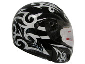 BLACK MODULAR FLIP UP TATTOO FLAME  FULL FACE MOTORCYCLE HELMET DOT