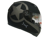 STAR MATTE BLACK DUAL VISOR FULL FACE MOTORCYCLE HELMET W/ SMOKE SUN SHIELD