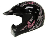 ADULT BLACK PINK BUTTERFLY DIRT BIKE ATV MX MOTOCROSS OFF-ROAD HELMET DOT