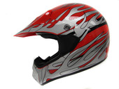 ADULT RED SILVER FLAME DIRT BIKE ATV MX MOTOCROSS OFF-ROAD HELMET DOT