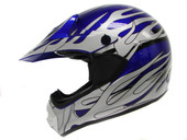 ADULT BLUE SILVER FLAME DIRT BIKE ATV MX MOTOCROSS OFF-ROAD HELMET DOT