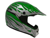 ADULT GREEN SILVER FLAME DIRT BIKE ATV MOTOCROSS OFF-ROAD MX HELMET DOT