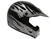 ADULT BLACK SILVER FLAME DIRT BIKE ATV MOTOCROSS OFF-ROAD MX HELMET DOT