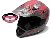 PINK FLAME DIRT BIKE ATV MOTOCROSS HELMET MX+GOGGLES