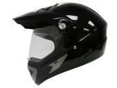 GLOSS BLACK MOTOCROSS MOTORCYCLE UTV DUAL SPORT HYBRID HELMET W/SHIELD