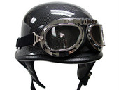 Biker DOT German Carbon Fiber Motorcycle Half Helmet with WWII Pilot Goggles