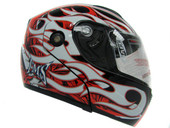 Flame Black/Red/White Flip Up Modular Full Face Motorcycle Helmet Street DOT