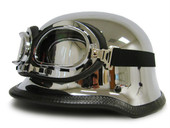 TMS German Style Motorcycle Half Helmet Chrome (Goggles Included)