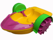 Kids Swimming Pool Paddler Boat Hand Power Paddle Wheel Colorful Water Float Toy (Yellow)