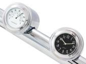"7/8"" 1"" Motorcycle Handlebar Chrome Dial Clock Temp Thermometer For Harley Davidson Honda Yamaha Suzuki Kawasaki"