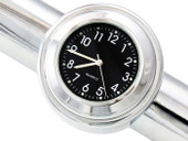"7/8"" 1"" Motorcycle Handlebar Chrome Black Dial Clock for Harley Davidson Honda Yamaha Suzuki Kawasaki"