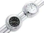 """7/8"""" 1"""" Motorcycle Handlebar Chrome Dial Clock Temp Thermometer for Suzuki Honda Harley Davidson Suzuki Yamaha Kawasaki"""