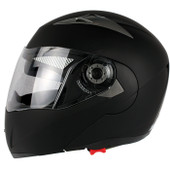 Matte Black FLIP UP MODULAR MOTORCYCLE DUAL SHIELD SMOKE VISOR HELMET